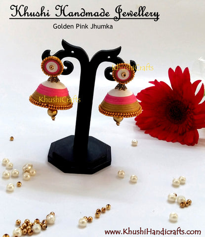 Golden Pink Jhumka