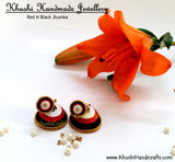 Red N Black Jhumka - Khushi Handmade Jewellery