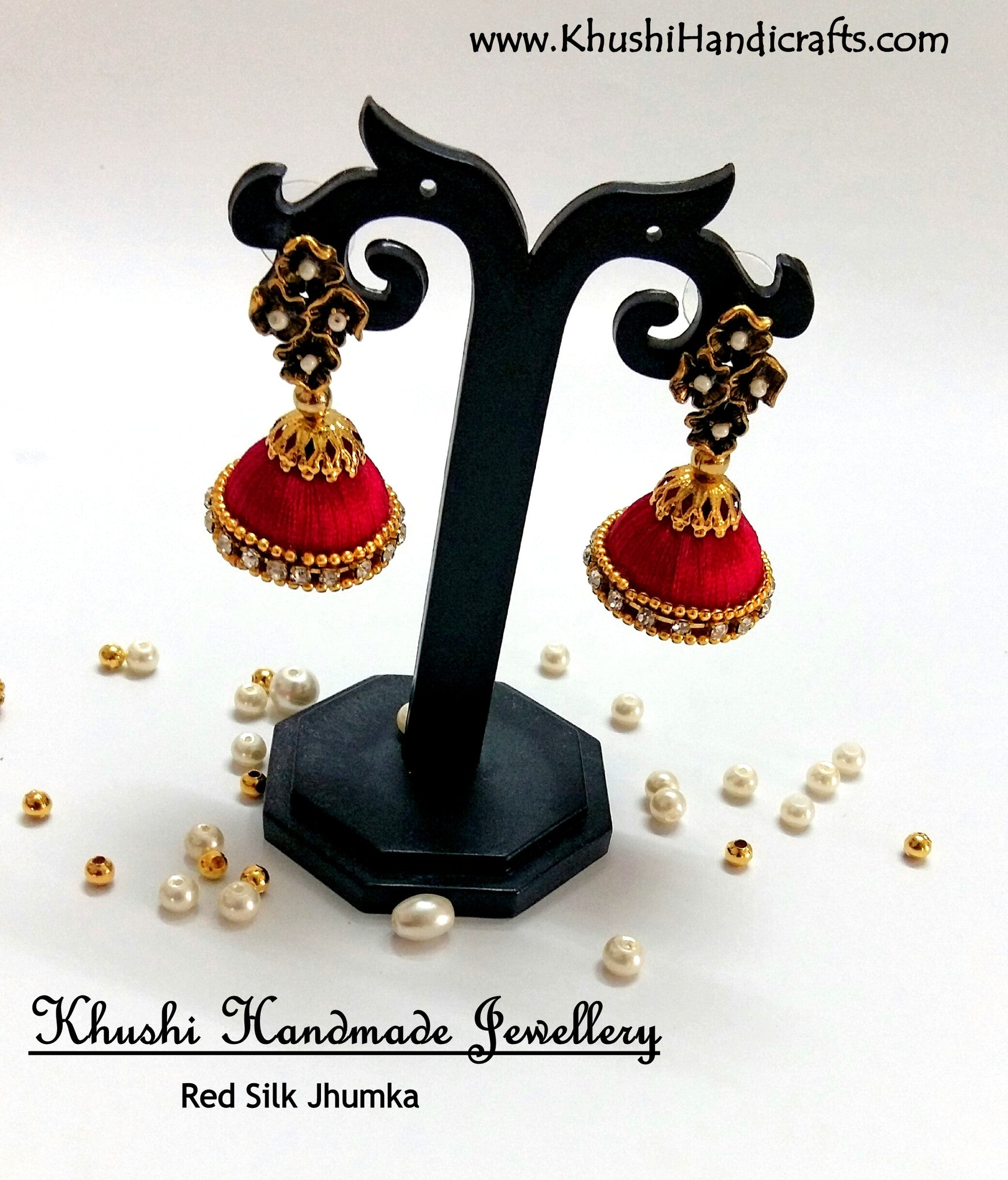 Red Silk Jhumkas - Khushi Handmade Jewellery