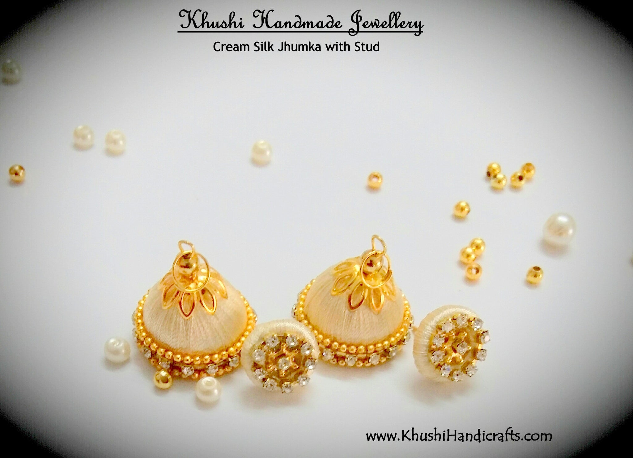 Cream Silk Jhumkas with Stud - Khushi Handmade Jewellery