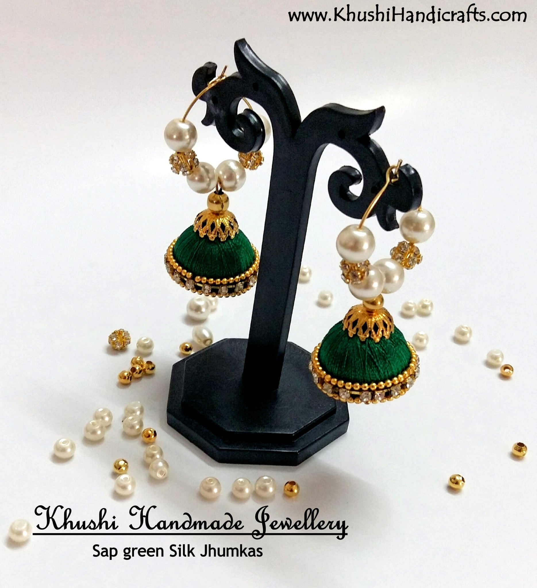 Green hooped Silk Jhumkas - Khushi Handmade Jewellery