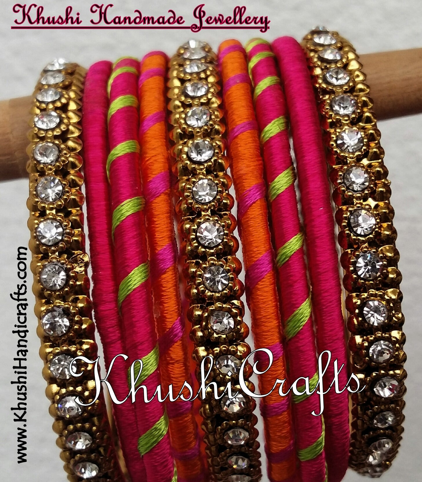 Handmade Silk Bangles in Pink and Orange - Khushi Handmade Jewellery