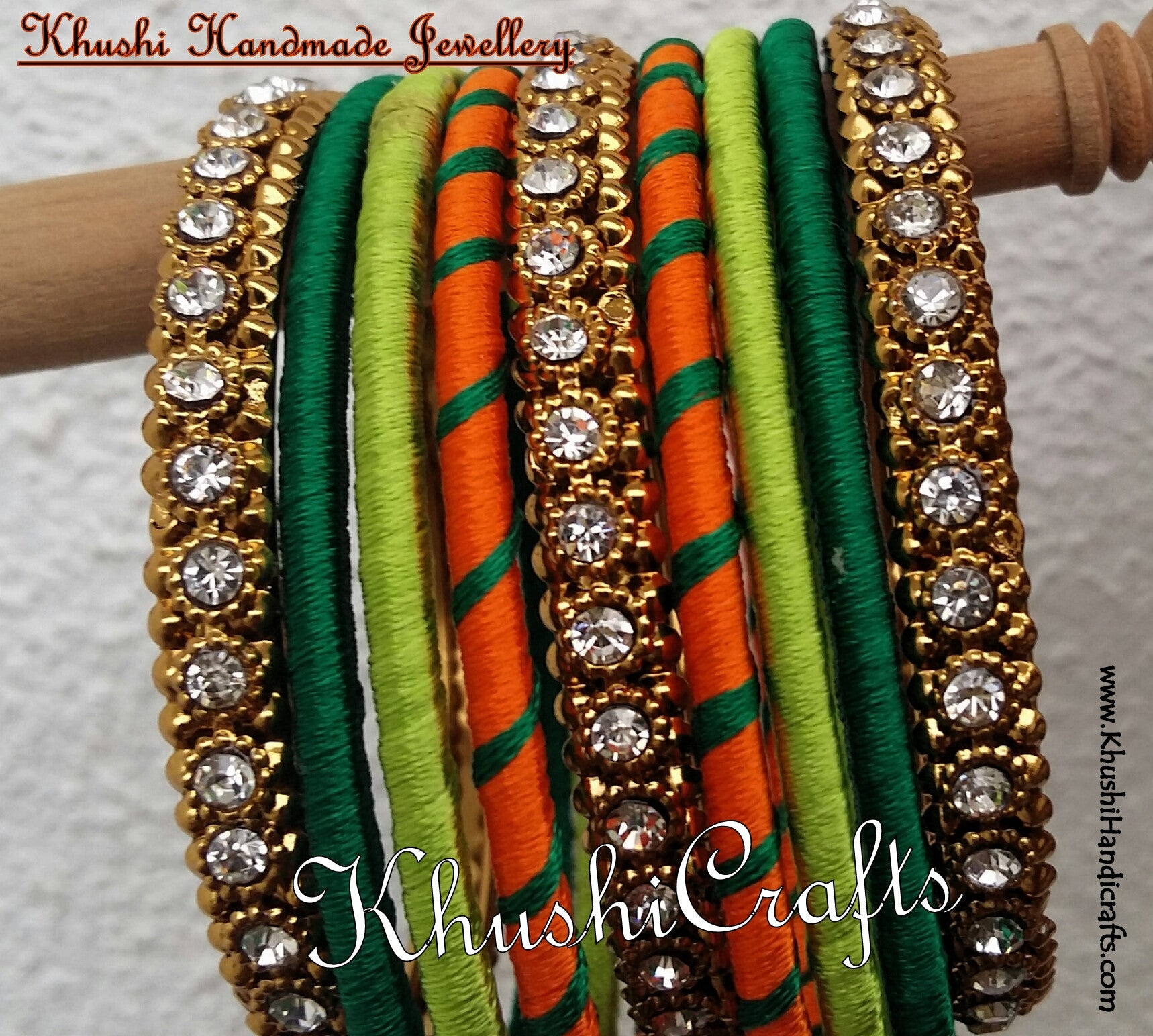 Handmade Stylish Silk Bangles in Orange and shades of Green - Khushi Handmade Jewellery