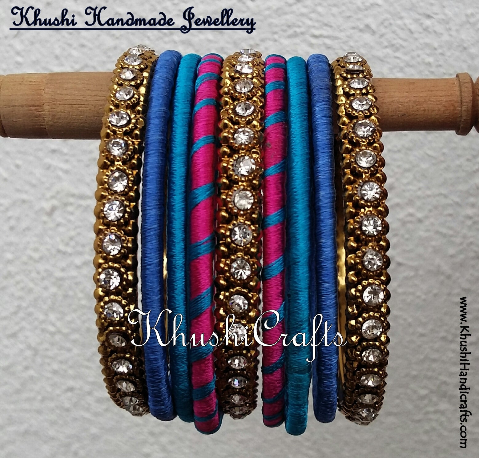 Handmade Stylish Silk Bangles in Pink and shades of Blue - Khushi Handmade Jewellery