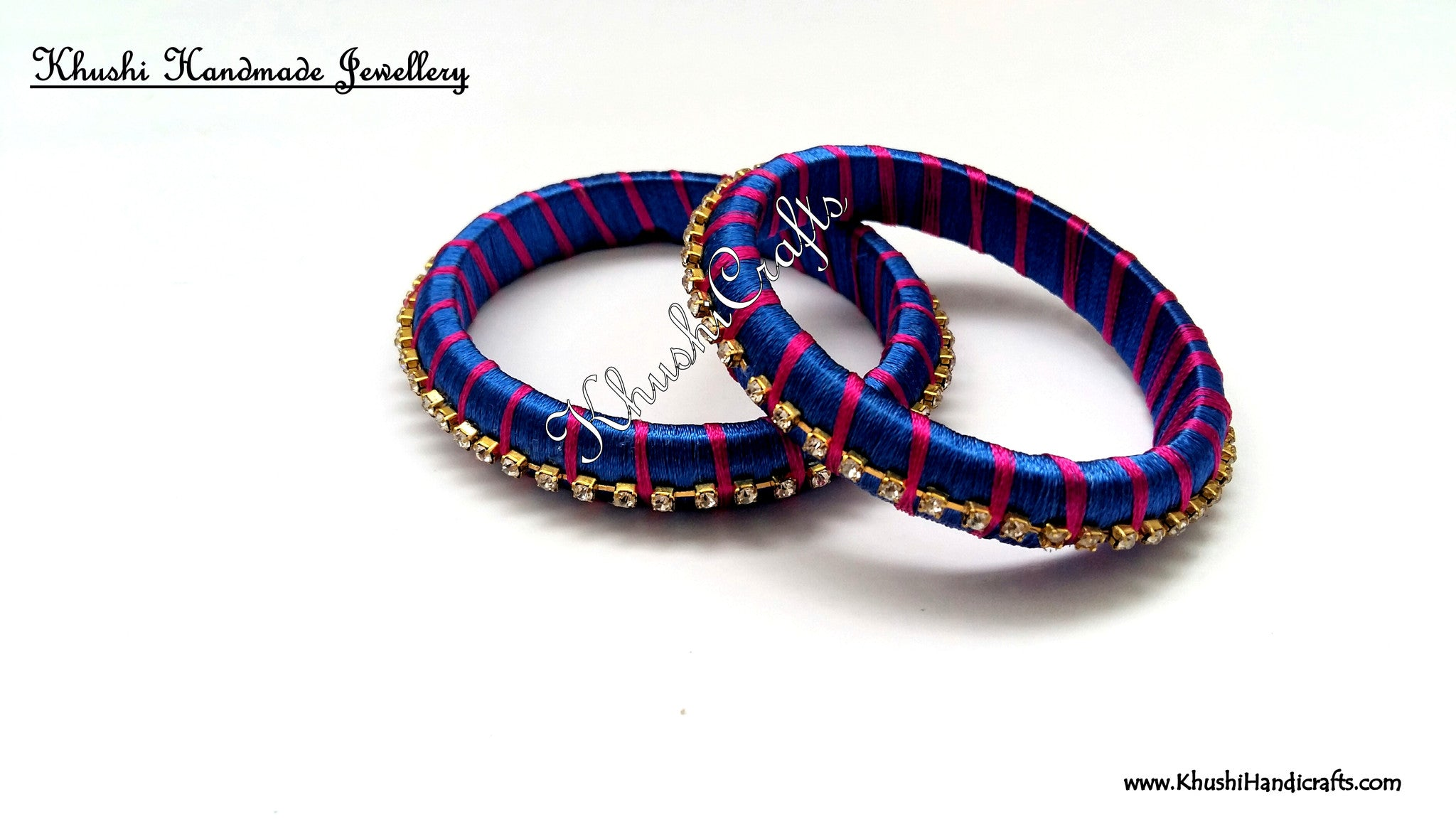 Simple Handmade Silk Bangles in Blue and Pink - Khushi Handmade Jewellery