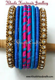 Handmade Trendy Silk Bangles in Pink and Blue - Khushi Handmade Jewellery