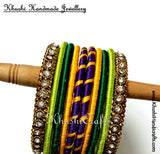 Trendy Silk Bangles in Purple Yellow and Green - Khushi Handmade Jewellery