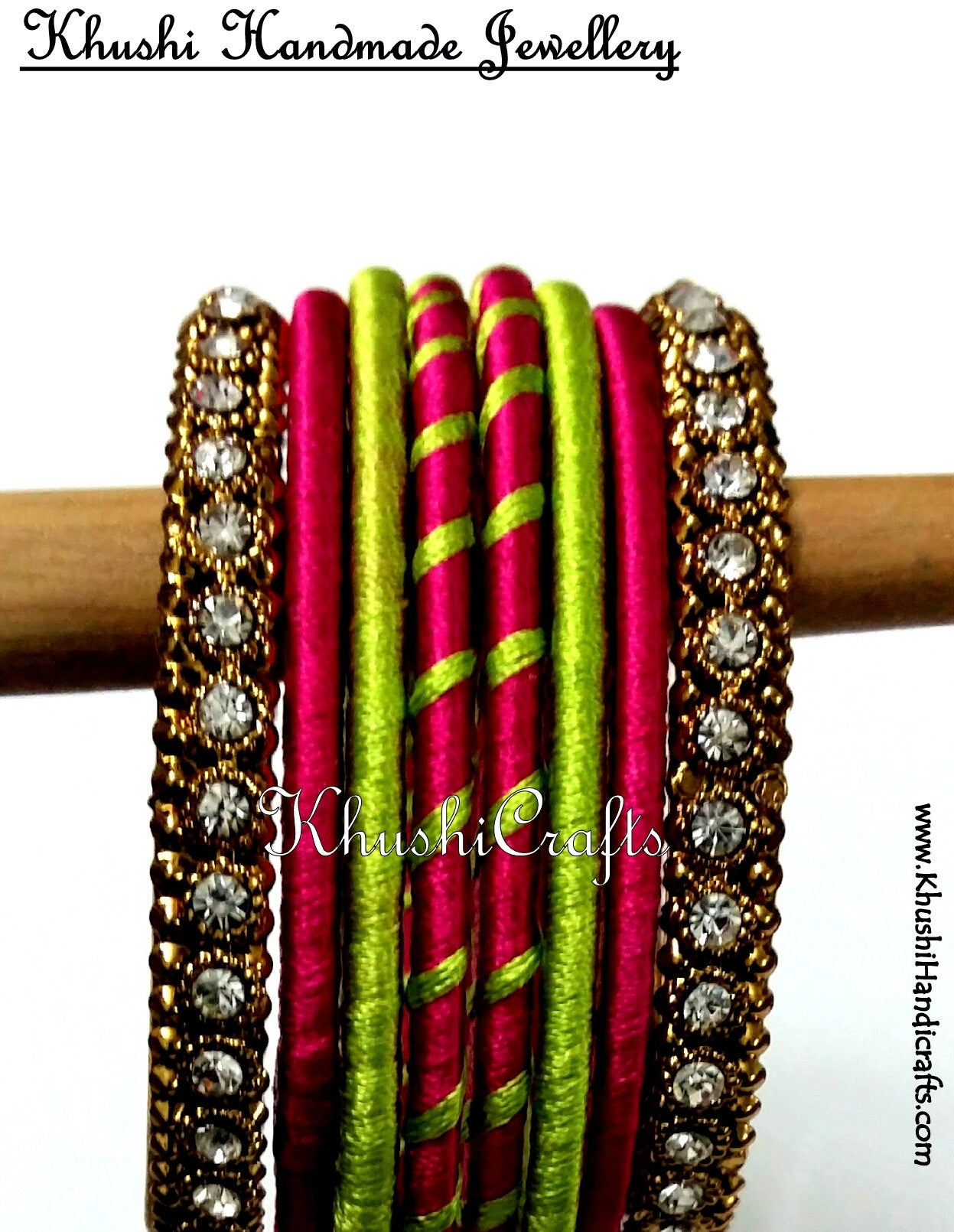 Trendy Hand-crafted Silk Bangles in Pink and Green - Khushi Handmade Jewellery
