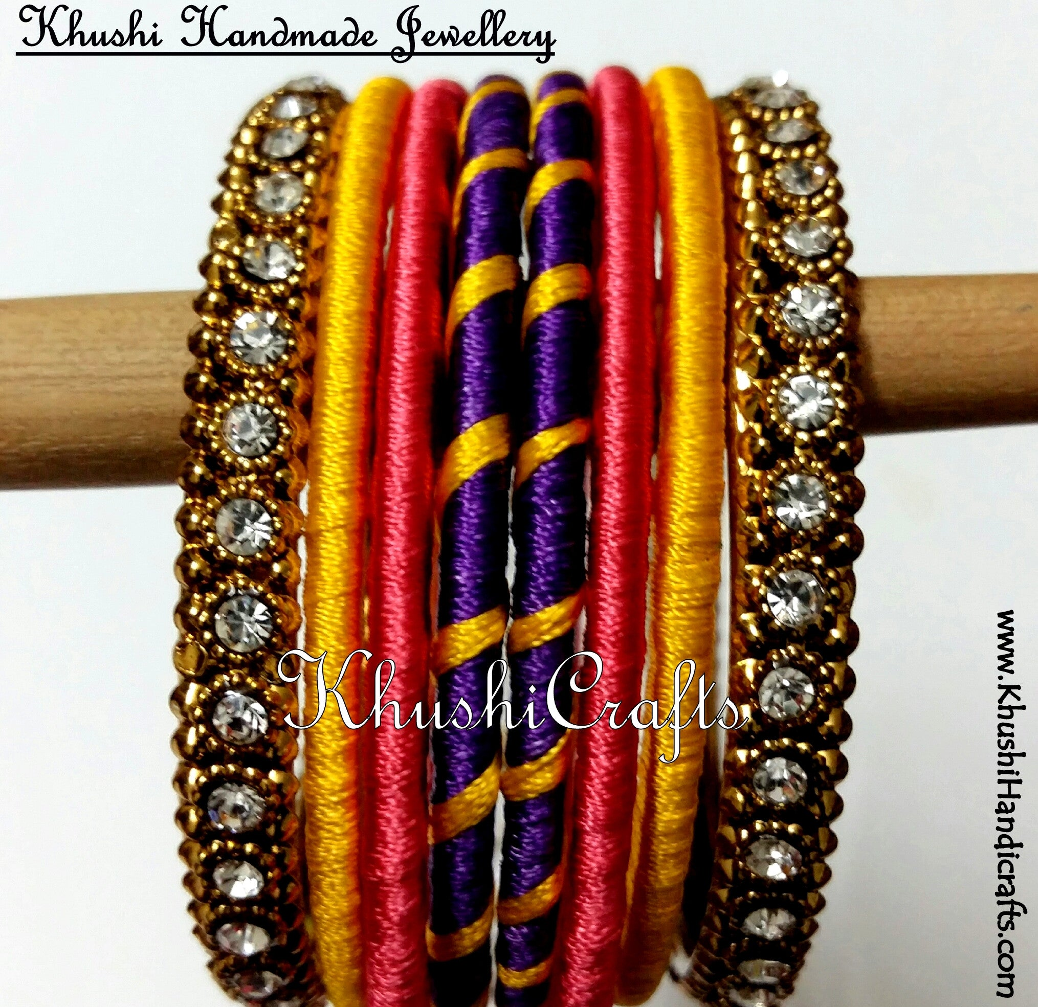 Hand-crafted Silk Thread Bangles in Purple Peach and Yellow