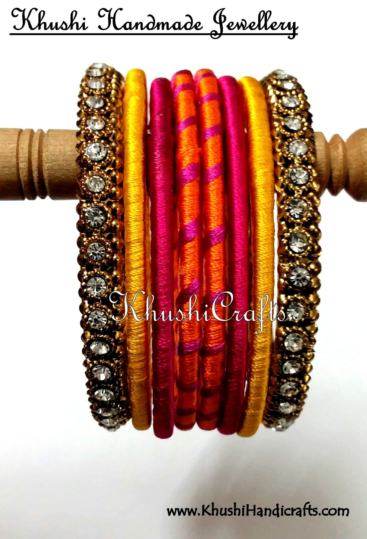Buy Hand-crafted Silk Thread Bangles in Orange Pink and Yellow ...