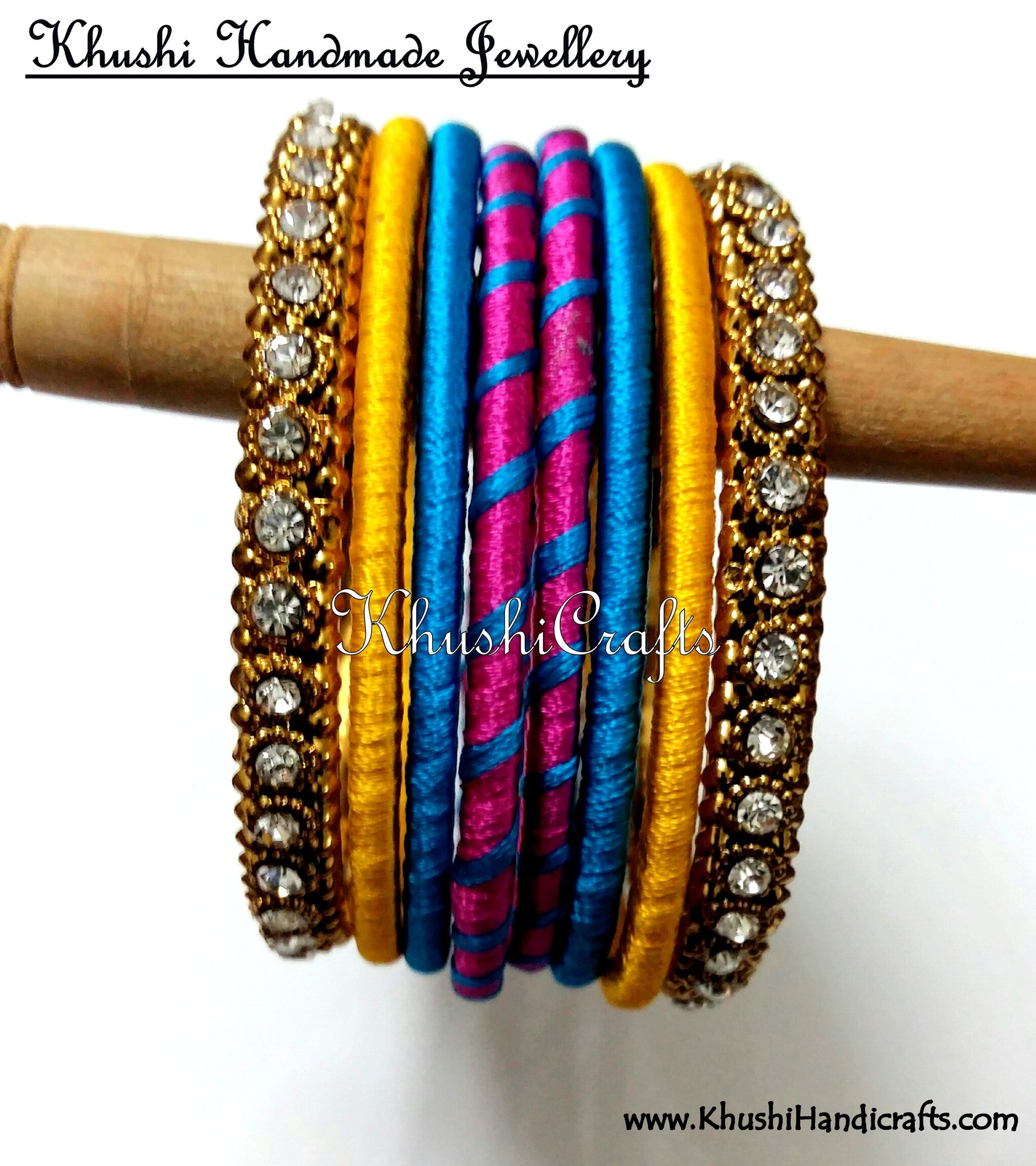 Hand-crafted exquisite Silk Bangles in Pink Blue and Yellow - Khushi Handmade Jewellery