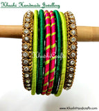 Hand-crafted exquisite Silk Bangles in Pink and Green - Khushi Handmade Jewellery