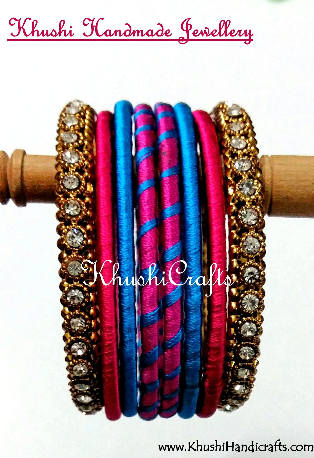Hand-crafted Silk Bangles in Pink and Blue - Khushi Handmade Jewellery