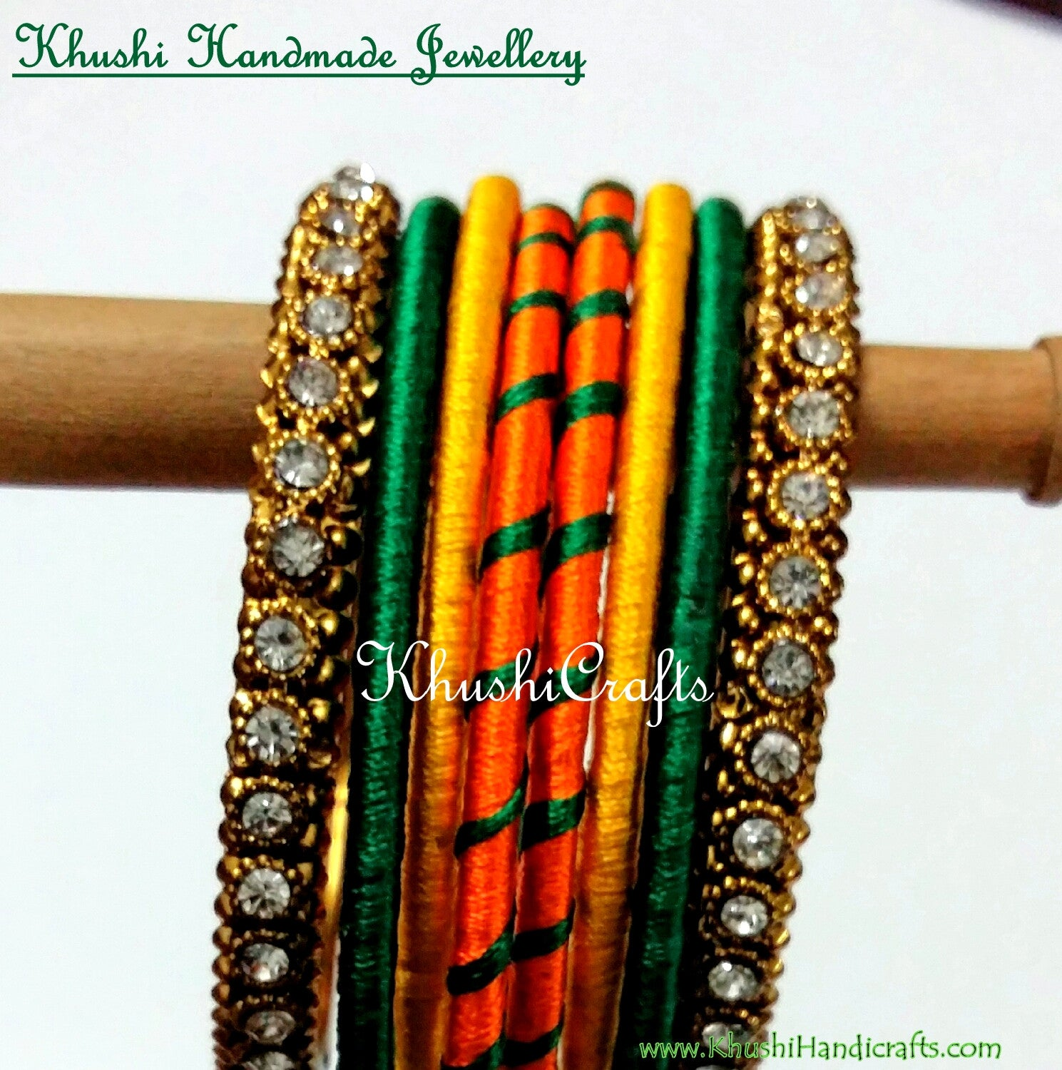 Hand-crafted Silk Bangles in Orange Yellow and Green - Khushi Handmade Jewellery