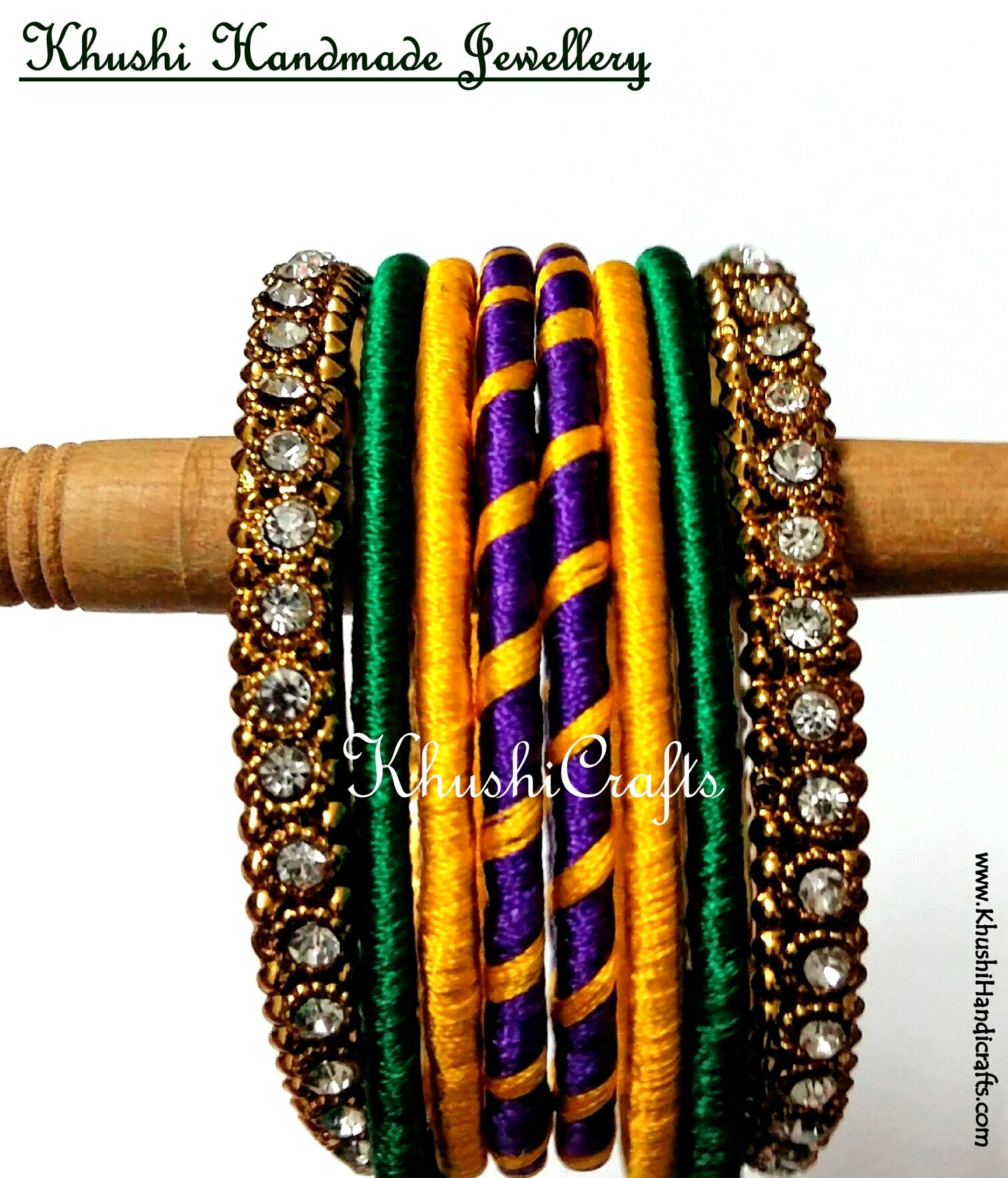 Hand-crafted Silk Bangles in Purple Yellow and Green - Khushi Handmade Jewellery