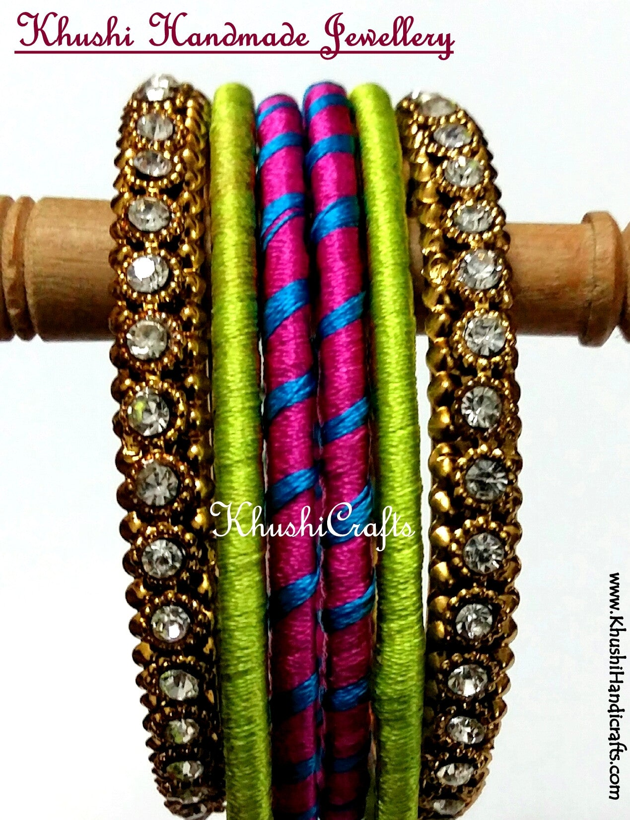 Stunning Silk Bangles in Green and Pink - Khushi Handmade Jewellery