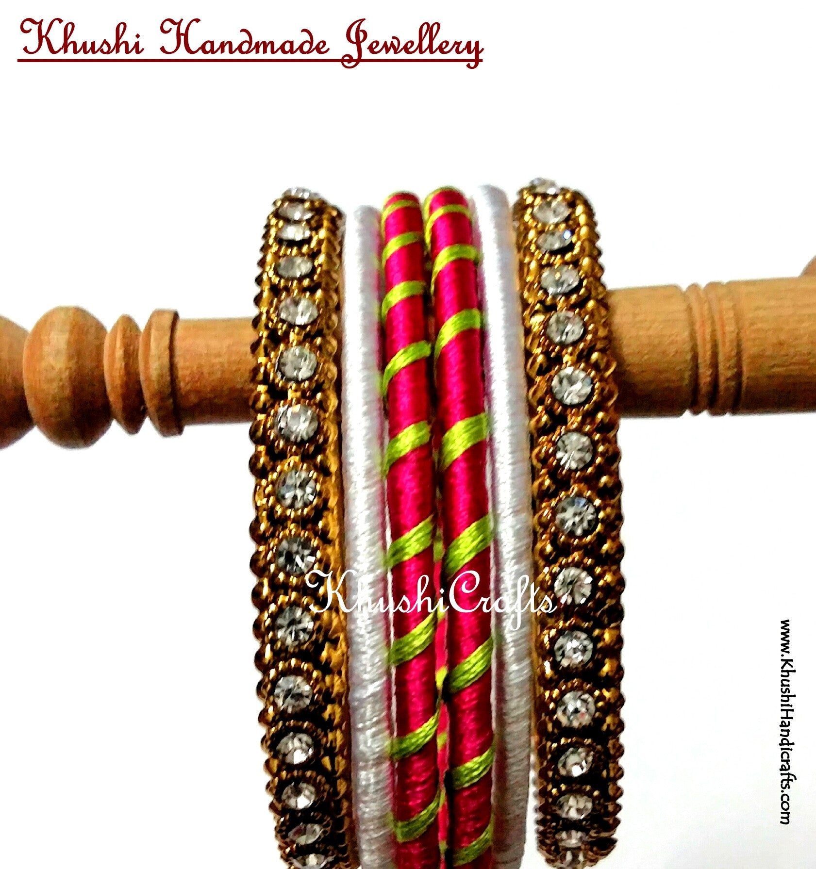 Stunning Silk Bangles in White and Pink - Khushi Handmade Jewellery