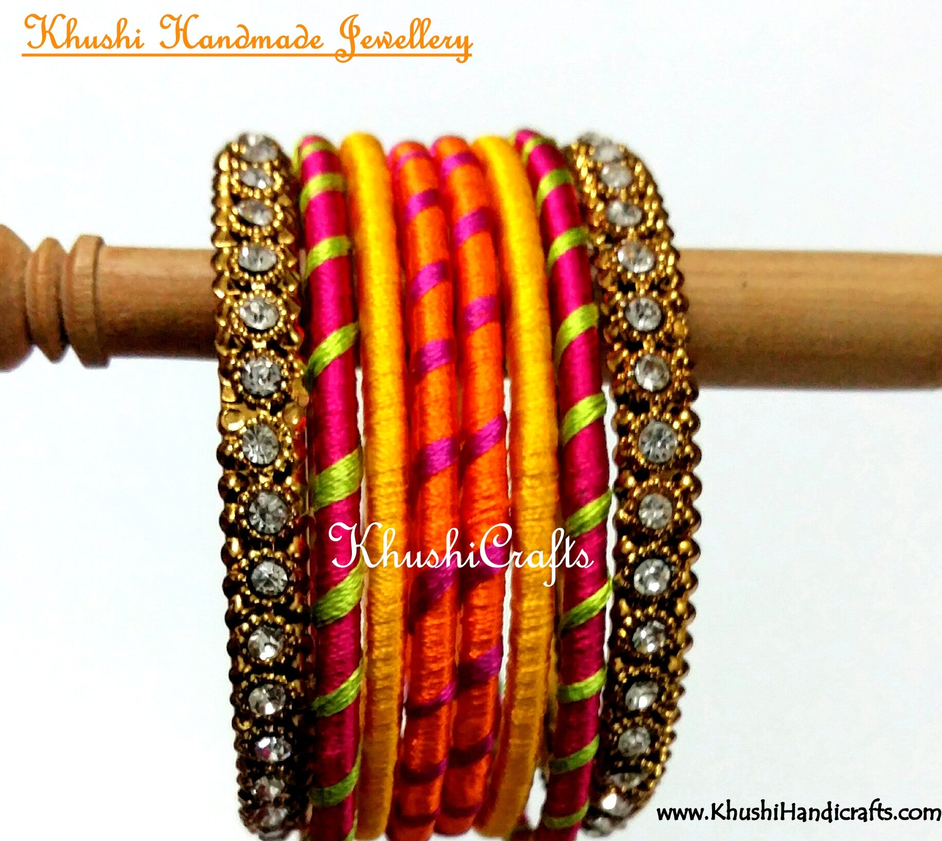 Hand-crafted Stylish Silk Bangles in Orange Yellow and Pink - Khushi Handmade Jewellery