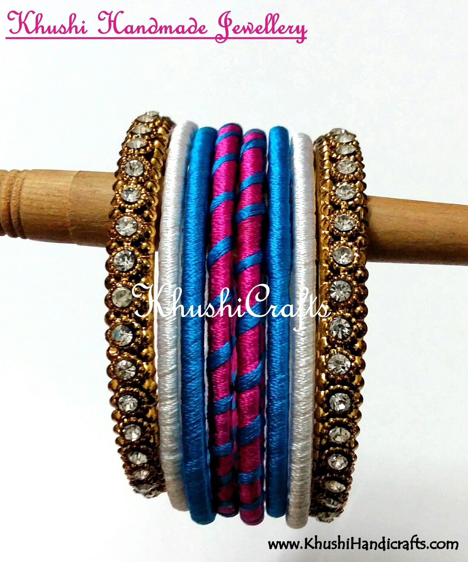Hand-crafted Stylish Silk Thread Bangles in White Blue and Pink - Khushi Handmade Jewellery