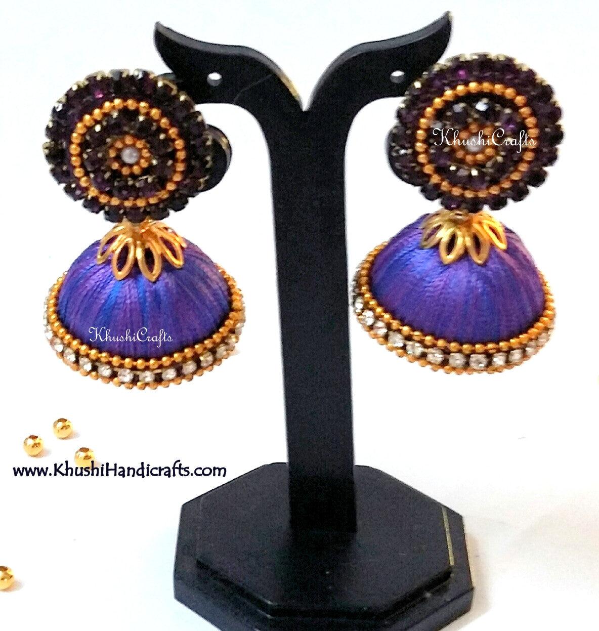 Purple Blue double shaded Designer Silk Jhumkas - Khushi Handmade Jewellery