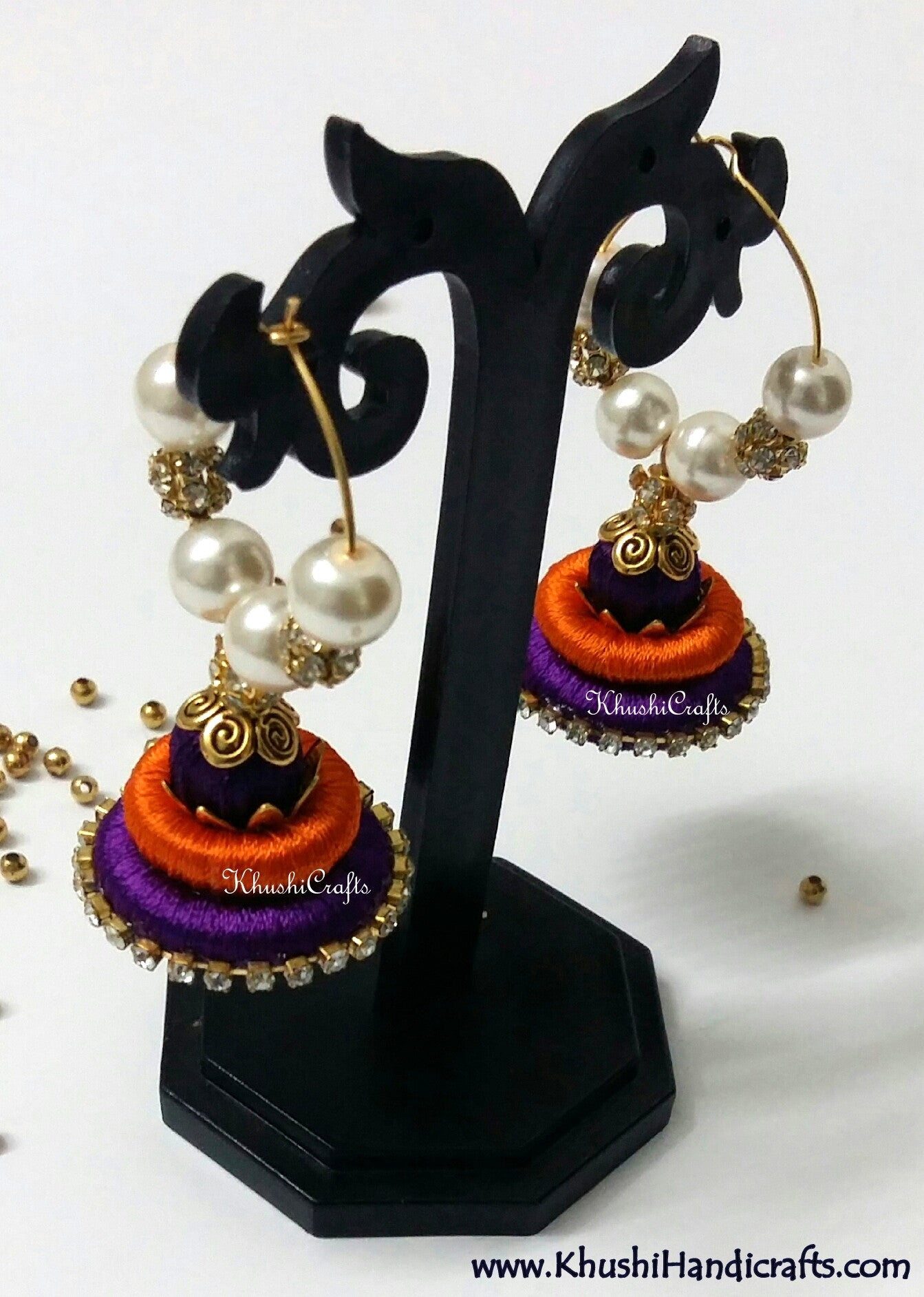 Orange Purple Silk Splendor - Khushi Handmade Jewellery