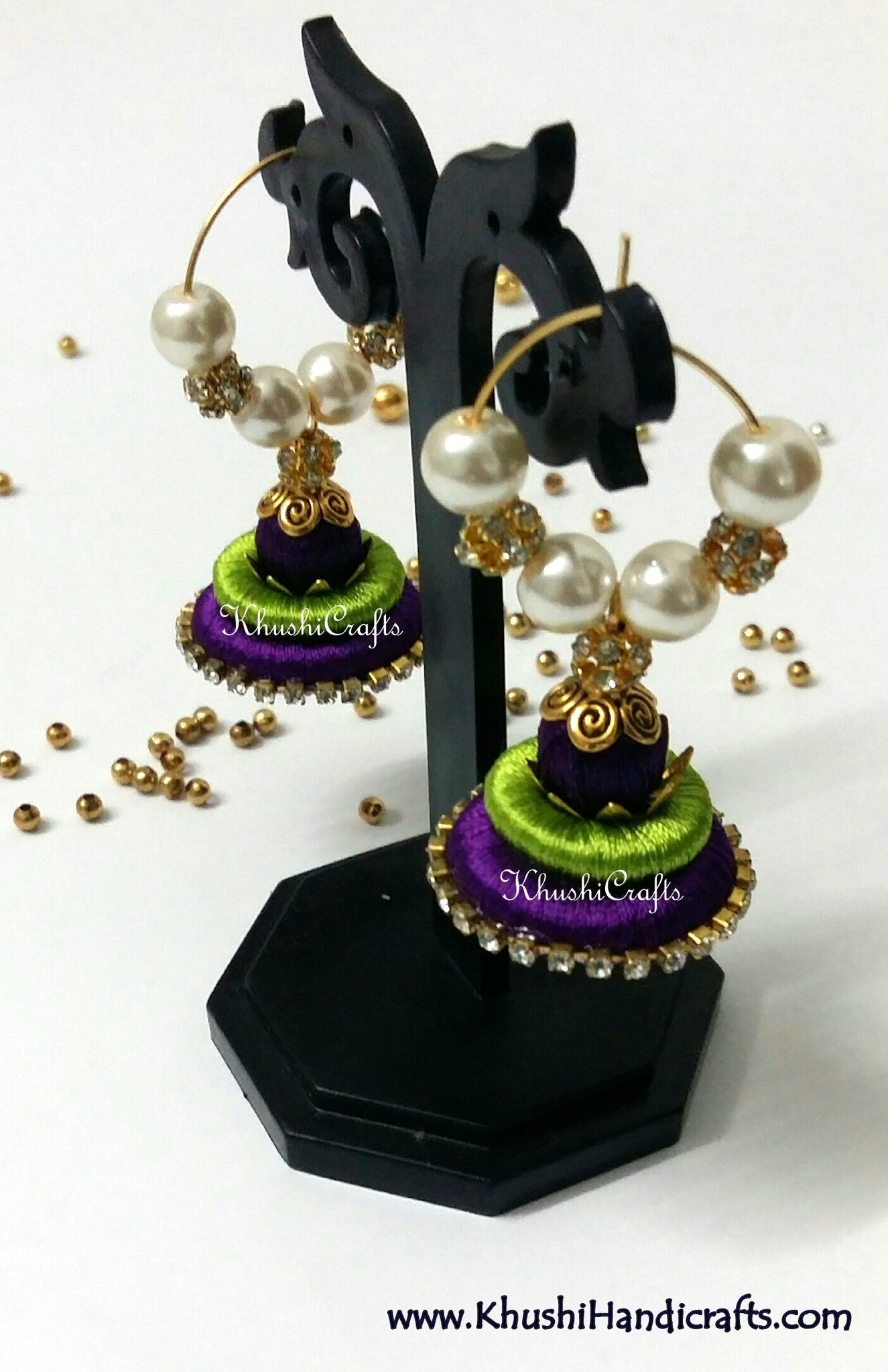Green Purple Silk Splendor - Khushi Handmade Jewellery