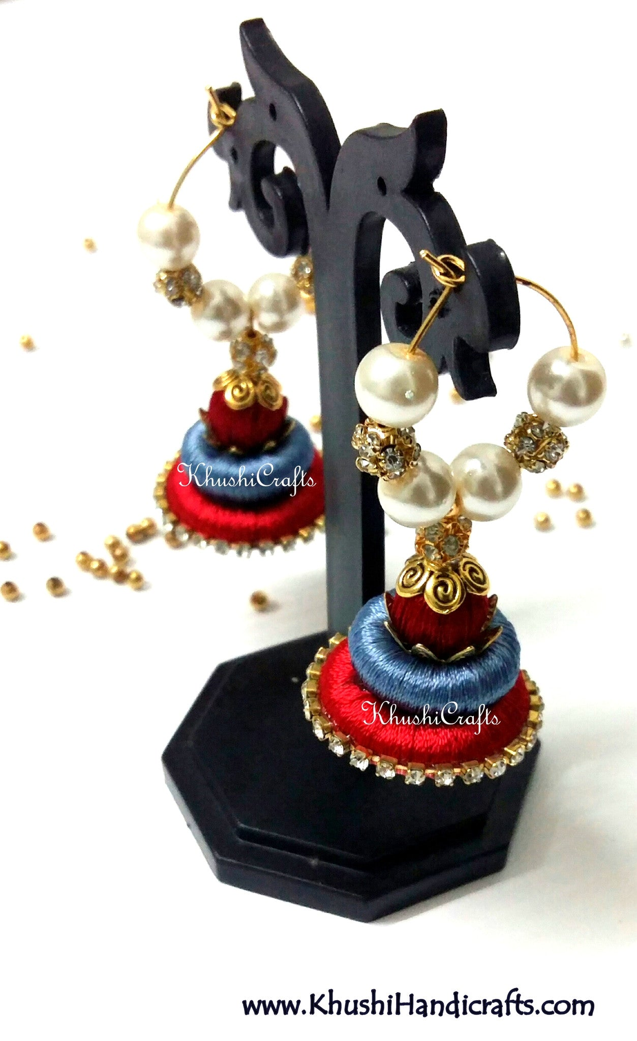 Grey Red Silk Splendor - Khushi Handmade Jewellery