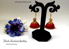 Blood Red Jhumkas - Khushi Handmade Jewellery