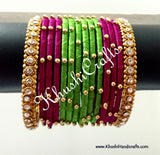 Hand-crafted exquisite Silk Bangles in Green and Magenta - Khushi Handmade Jewellery