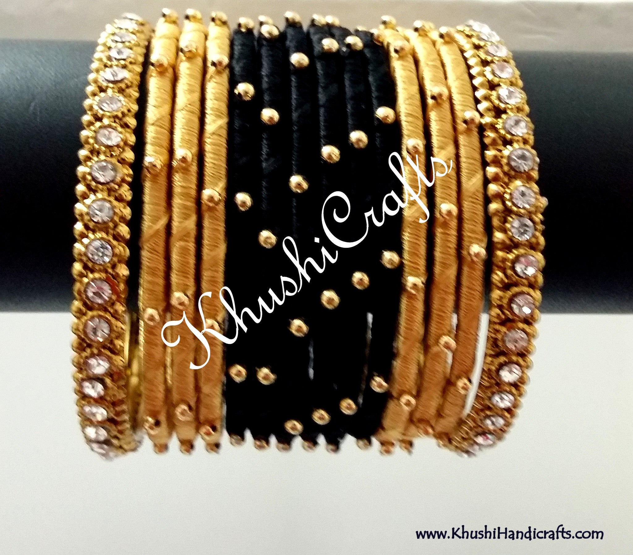 Hand-crafted exquisite Silk Bangles in Black and Gold - Khushi Handmade Jewellery