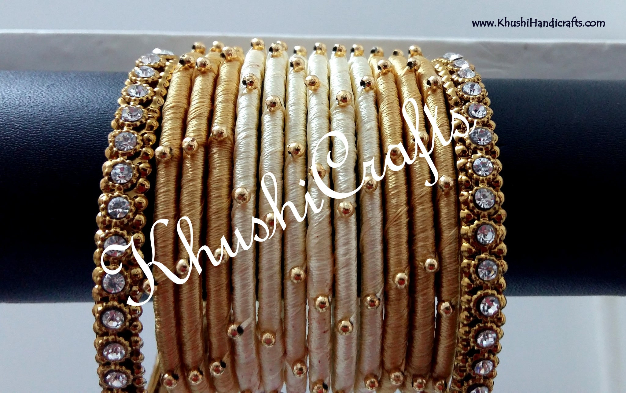 Gold and Cream Silk Bangles - Khushi Handmade Jewellery