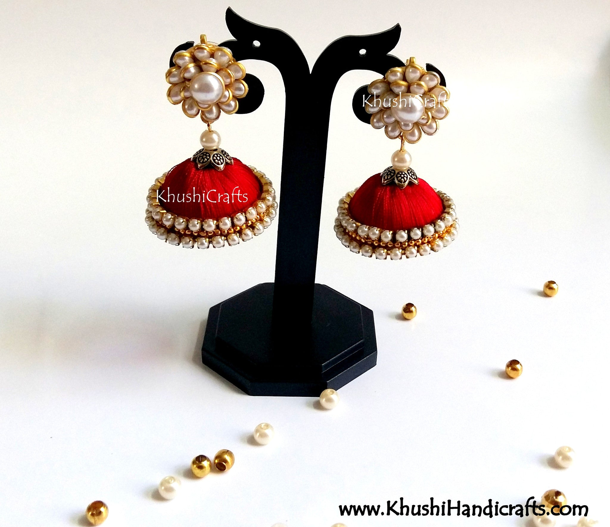 Red Silk Jhumka With Pachi Stud - Khushi Handmade Jewellery