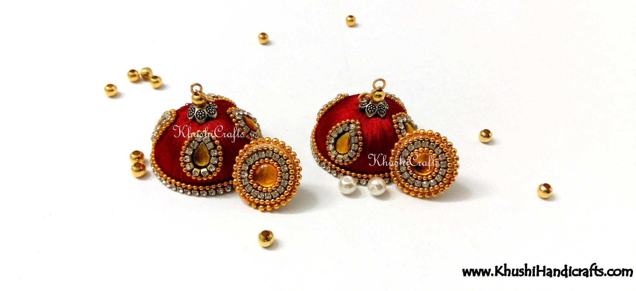 Maroon Designer Extra large Silk Jhumkas With Quilled Stud