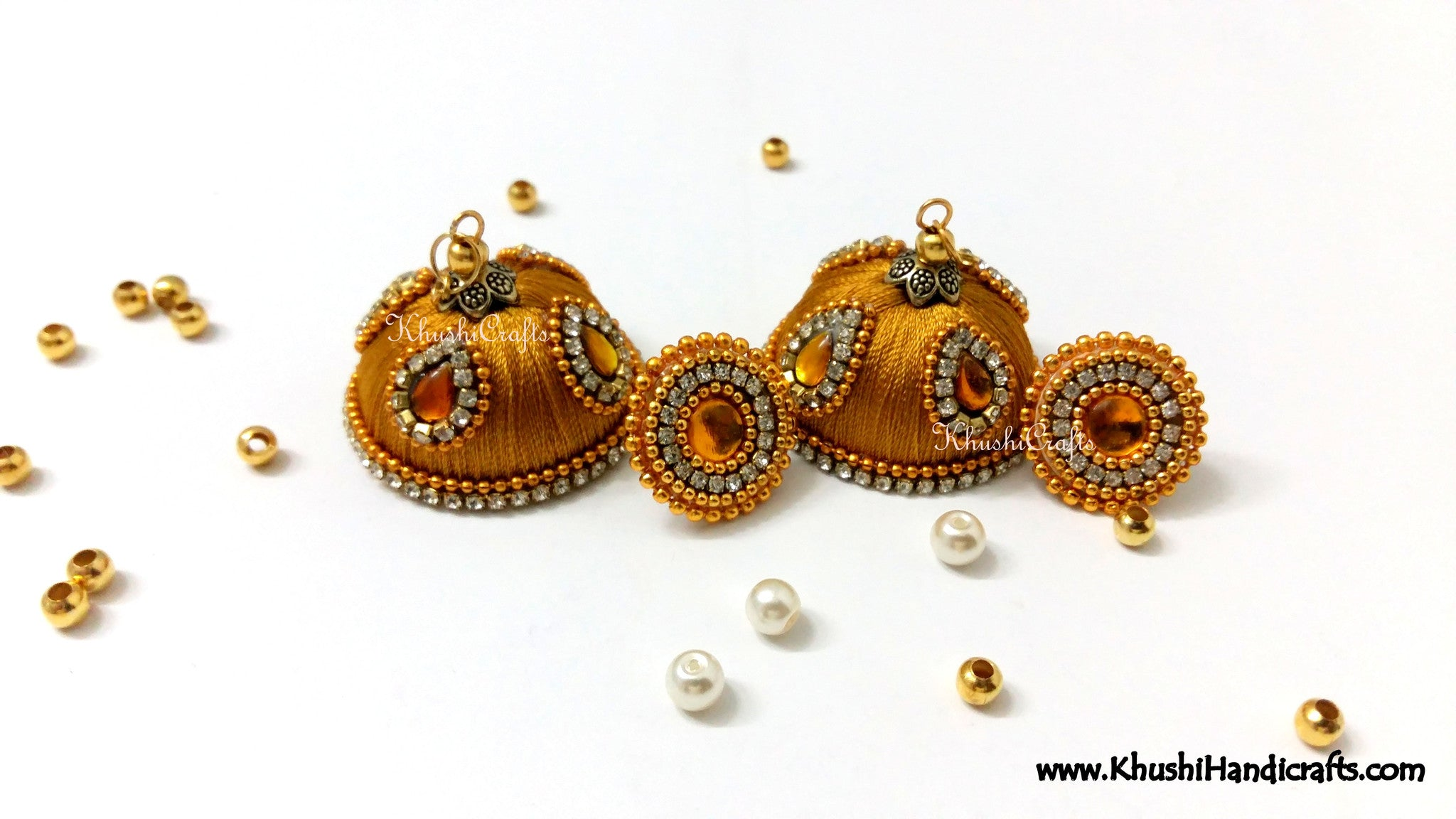 Gold Designer Extra large Silk Jhumkas With Stud - Khushi Handmade Jewellery