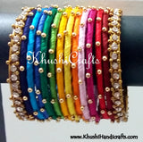 Hand-crafted exquisite Silk Bangles in Rainbow Shades - Khushi Handmade Jewellery