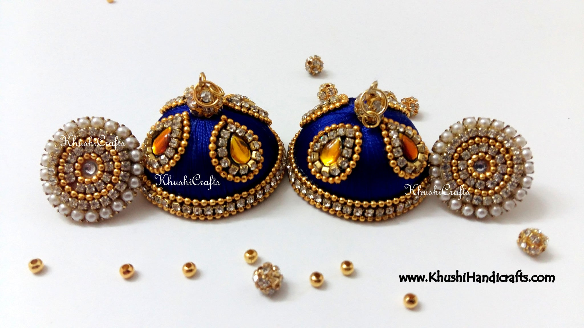 Royal blue Designer Extra large Silk Jhumkas With Stud - Khushi Handmade Jewellery