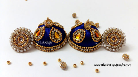 Royal blue Designer Extra large Silk Jhumkas With Stud
