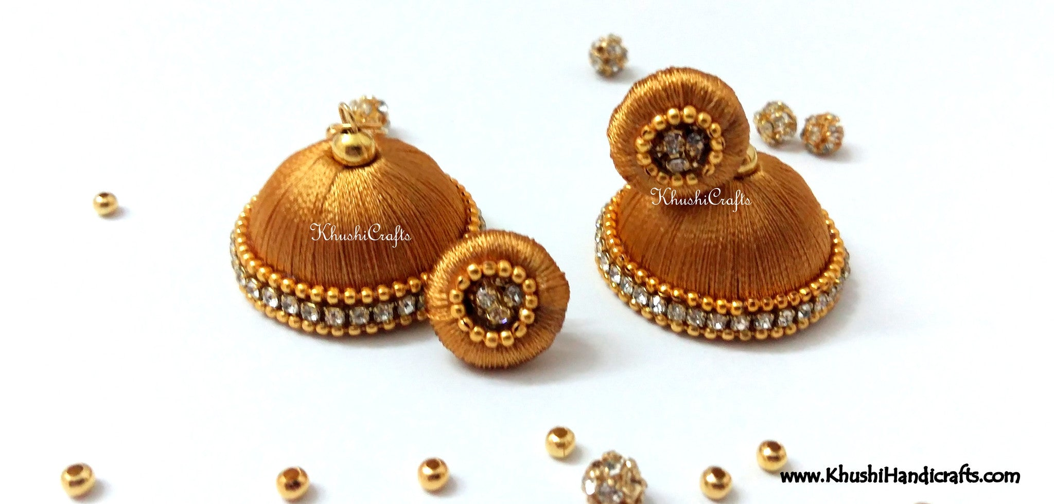 Gold shaded Designer Silk Jhumkas - Khushi Handmade Jewellery