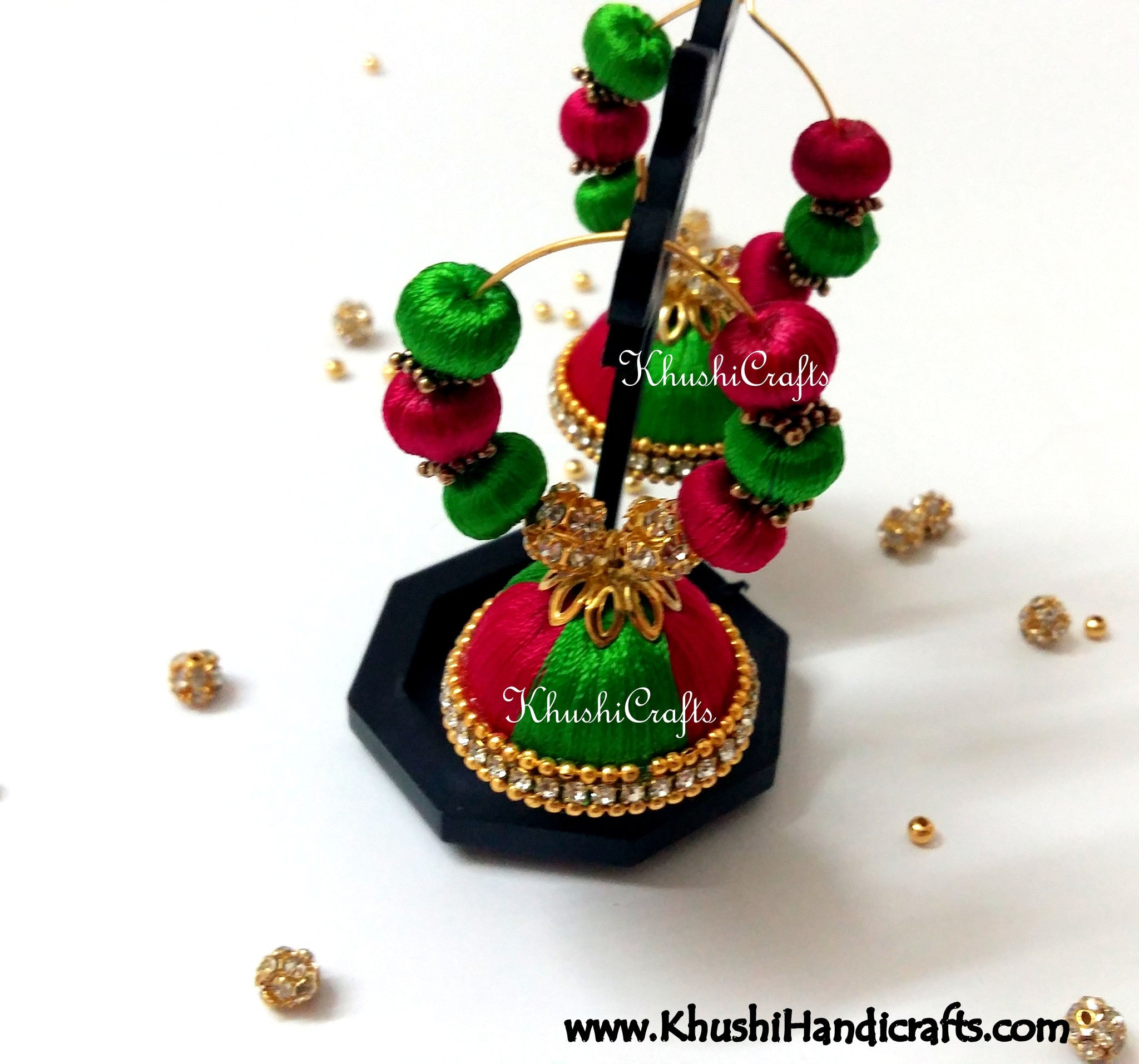 Magenta Green hooped Silk Jhumkas - Khushi Handmade Jewellery