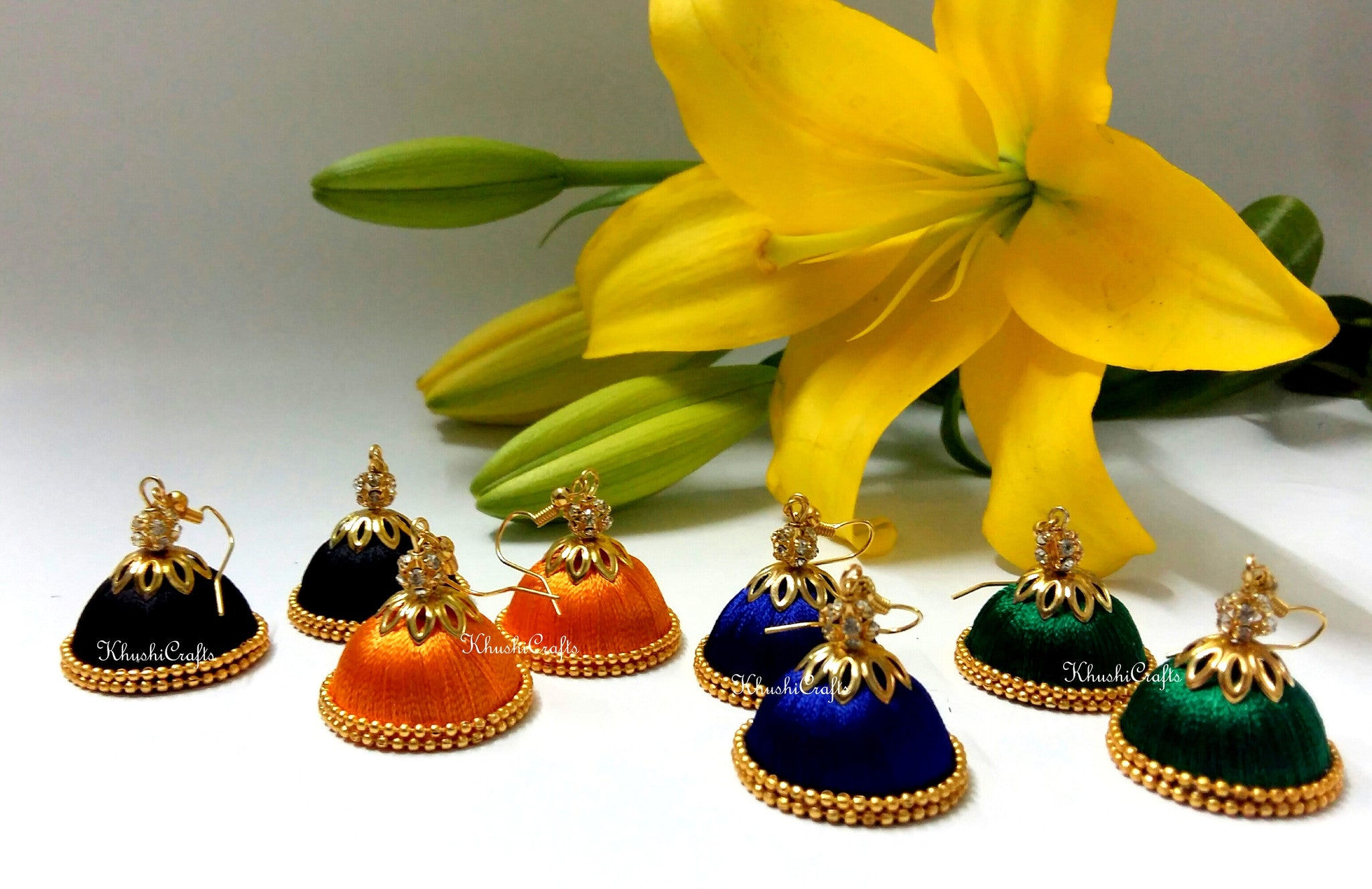 Gold beaded Silk Jhumkas