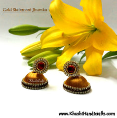 Gold Statement Jhumka - Khushi Handmade Jewellery