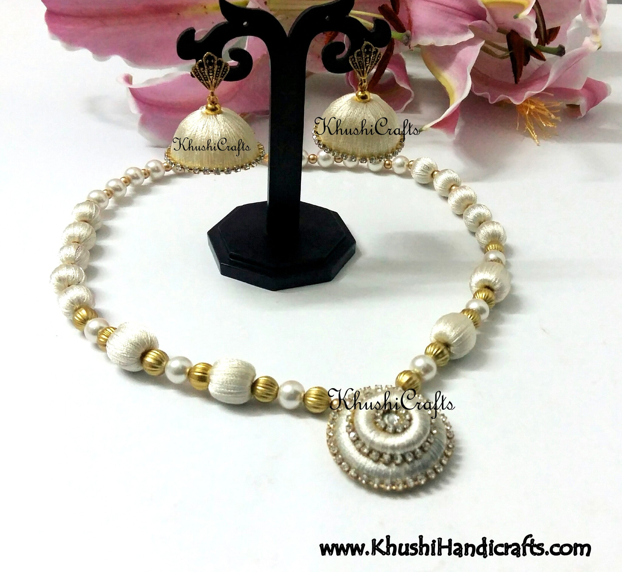 White Silk Necklace set - Khushi Handmade Jewellery