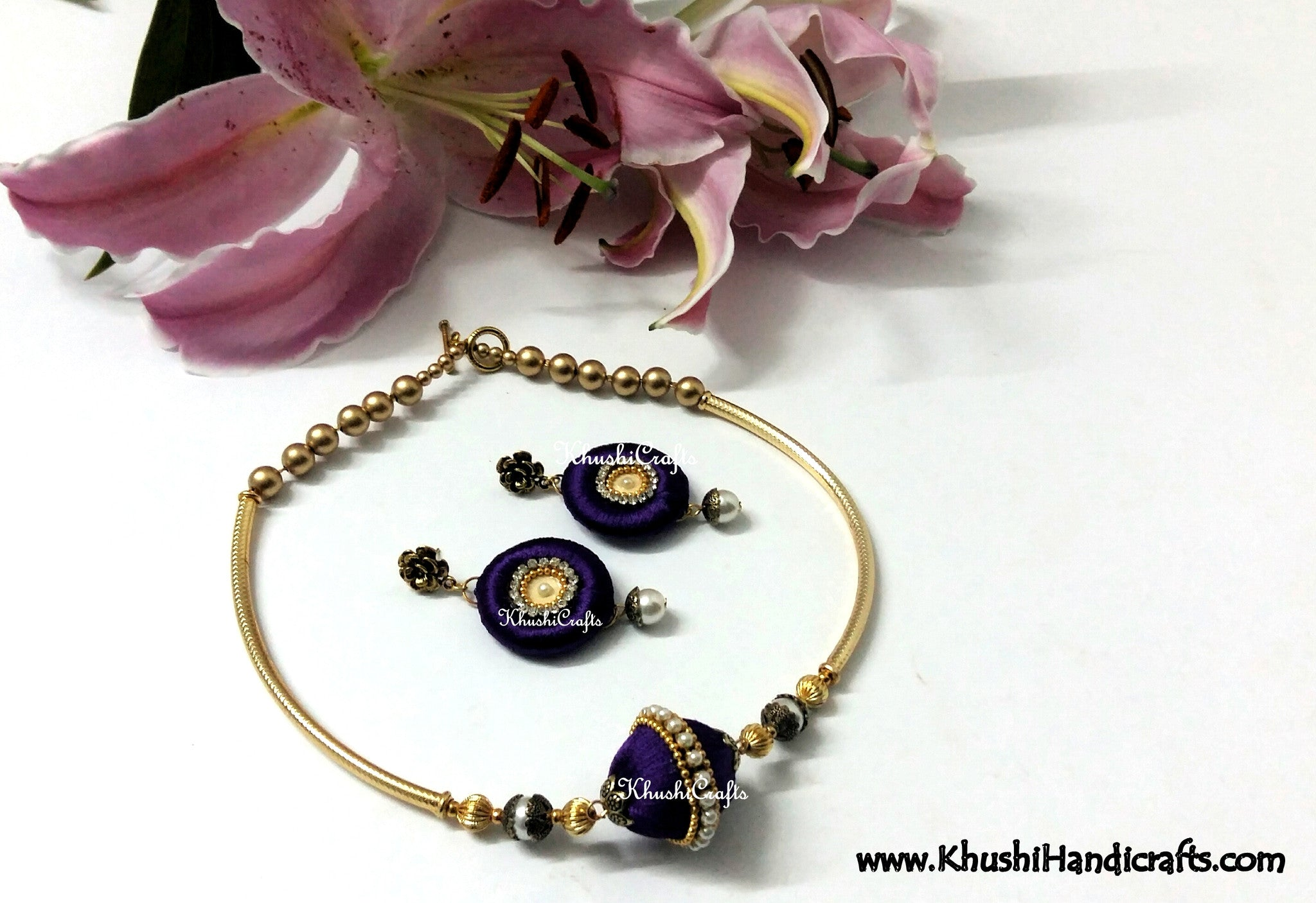 Purple Silk Choker Neck set - Khushi Handmade Jewellery