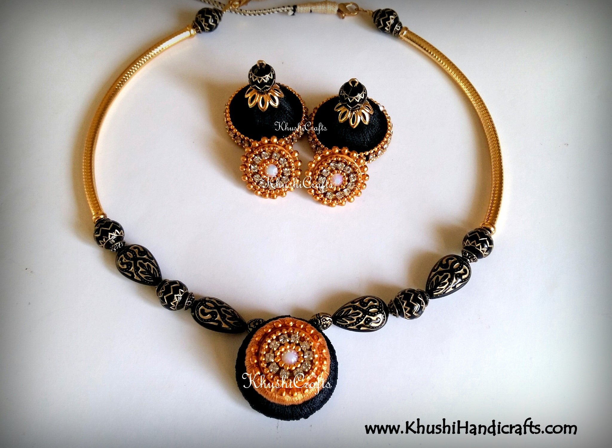 Black Statement Maker Silk Necklace set - Khushi Handmade Jewellery