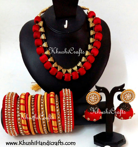 Silk Thread Bridal Collection Necklace set with Bangles in Red