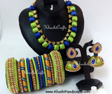 Silk Thread Bridal Collection Necklace set with Bangles in Blue and Green - Khushi Handmade Jewellery