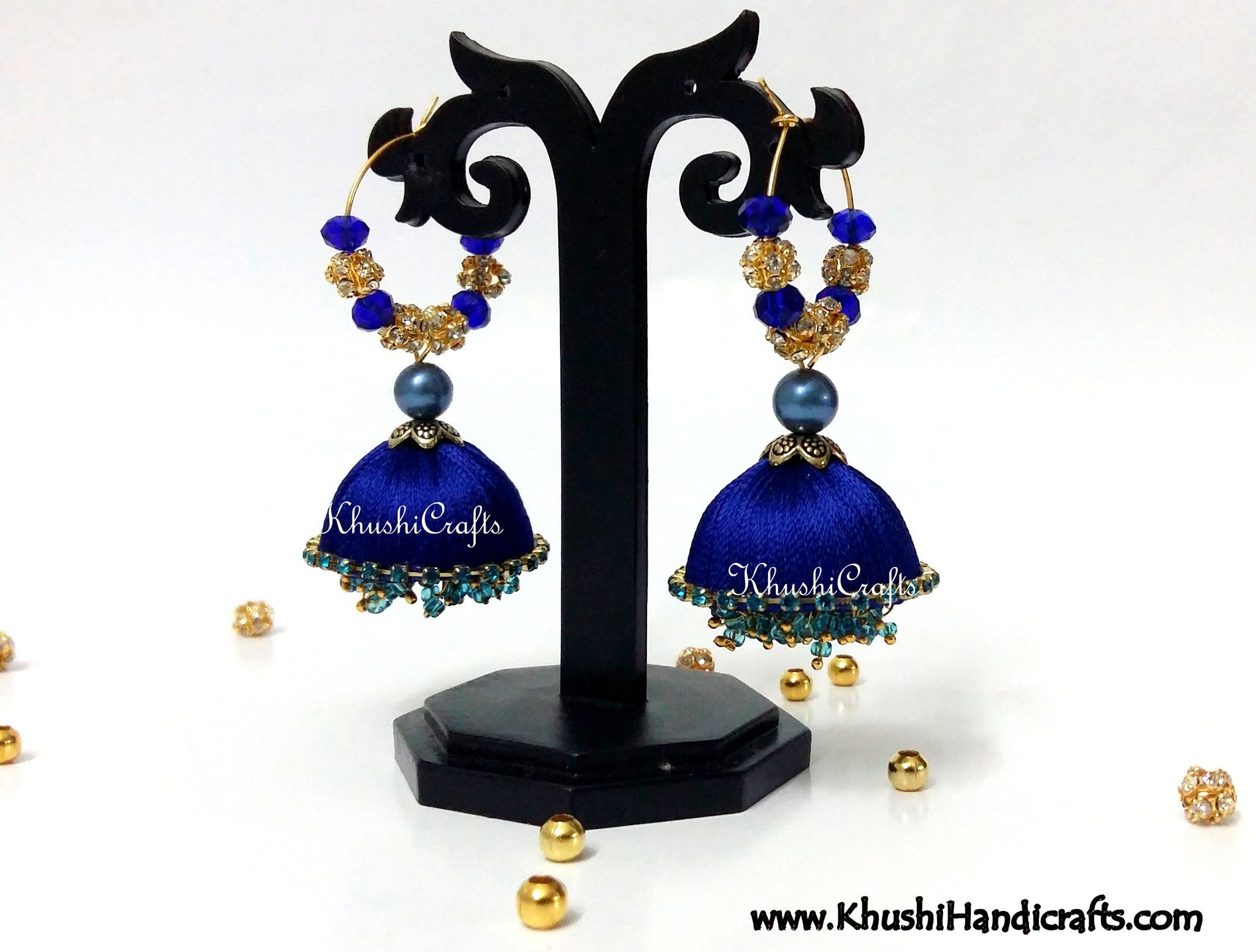 Royal Blue Silk Dangler Party Wear Jhumkas - Khushi Handmade Jewellery