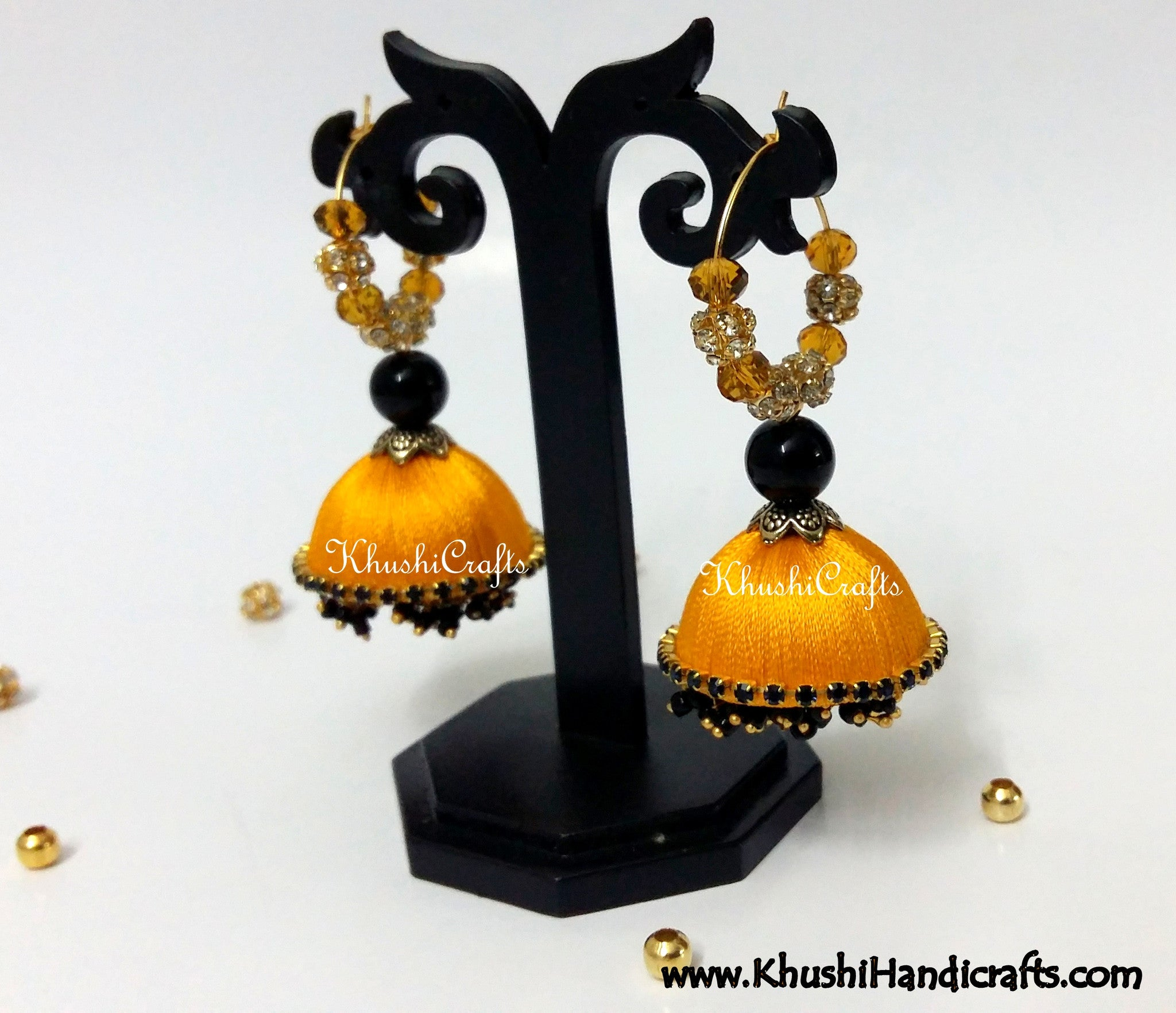 Golden Yellow Silk Dangler Party Wear Jhumkas - Khushi Handmade Jewellery
