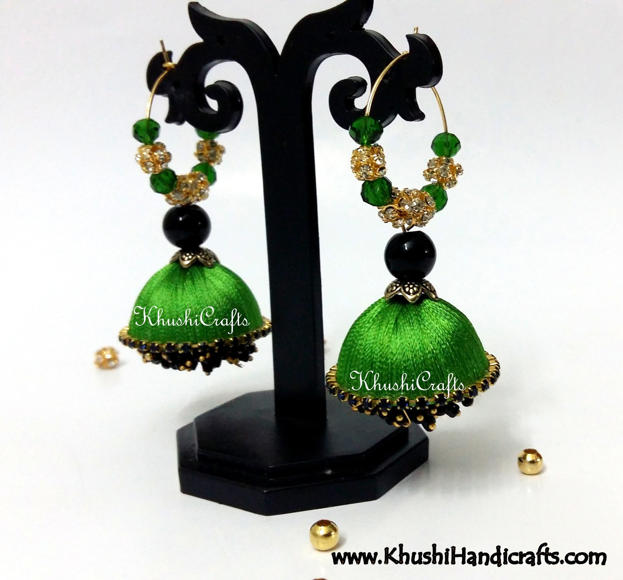 Lush Green Silk Dangler Party Wear Jhumkas - Khushi Handmade Jewellery
