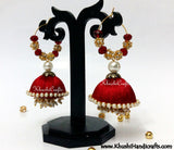 Red Silk thread Jhumkas